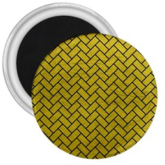 Brick2 Black Marble & Yellow Leather 3  Magnets