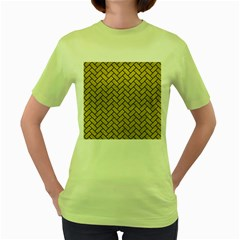 Brick2 Black Marble & Yellow Leather Women s Green T Shirt