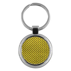 Brick2 Black Marble & Yellow Leather Key Chains (round)