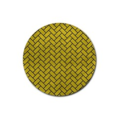 Brick2 Black Marble & Yellow Leather Rubber Round Coaster (4 Pack)