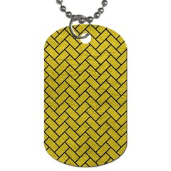Brick2 Black Marble & Yellow Leather Dog Tag (two Sides)