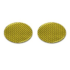 Brick2 Black Marble & Yellow Leather Cufflinks (oval)