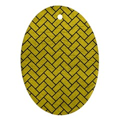 Brick2 Black Marble & Yellow Leather Oval Ornament (two Sides)