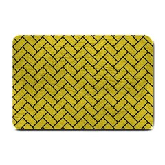 Brick2 Black Marble & Yellow Leather Small Doormat