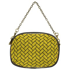 Brick2 Black Marble & Yellow Leather Chain Purses (one Side)