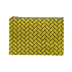 Brick2 Black Marble & Yellow Leather Cosmetic Bag (large)