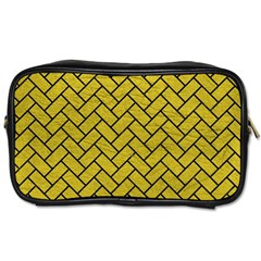 Brick2 Black Marble & Yellow Leather Toiletries Bags 2 Side