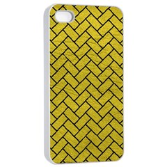 Brick2 Black Marble & Yellow Leather Apple Iphone 4/4s Seamless Case (white)