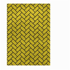 Brick2 Black Marble & Yellow Leather Large Garden Flag (two Sides)