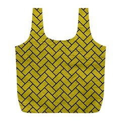 Brick2 Black Marble & Yellow Leather Full Print Recycle Bags (l)
