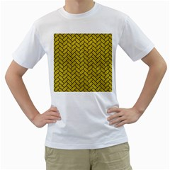 Brick2 Black Marble & Yellow Leather Men s T Shirt (white)