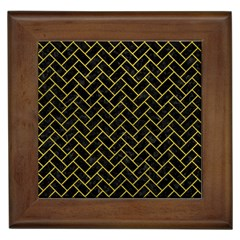Brick2 Black Marble & Yellow Leather (r) Framed Tiles