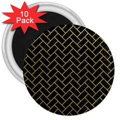 Brick2 Black Marble & Yellow Leather (r) 3  Magnets (10 Pack)