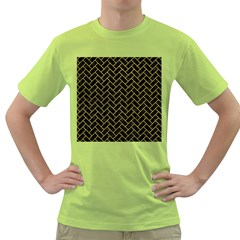 Brick2 Black Marble & Yellow Leather (r) Green T Shirt
