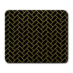 Brick2 Black Marble & Yellow Leather (r) Large Mousepads