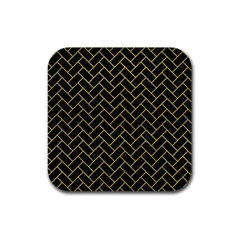 Brick2 Black Marble & Yellow Leather (r) Rubber Coaster (square)