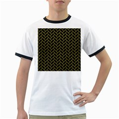 Brick2 Black Marble & Yellow Leather (r) Ringer T Shirts