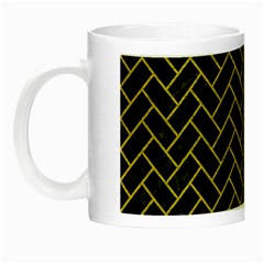 Brick2 Black Marble & Yellow Leather (r) Night Luminous Mugs