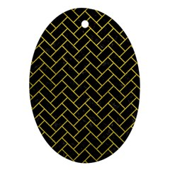 Brick2 Black Marble & Yellow Leather (r) Oval Ornament (two Sides)