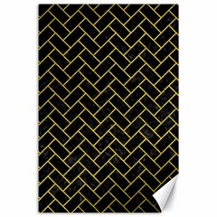 Brick2 Black Marble & Yellow Leather (r) Canvas 24  X 36
