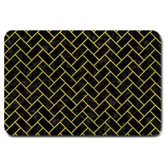 Brick2 Black Marble & Yellow Leather (r) Large Doormat