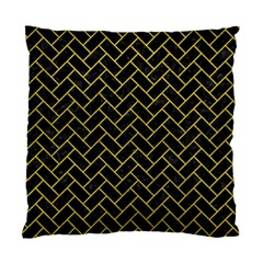 Brick2 Black Marble & Yellow Leather (r) Standard Cushion Case (one Side)