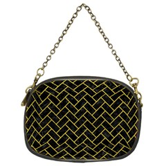 Brick2 Black Marble & Yellow Leather (r) Chain Purses (two Sides)