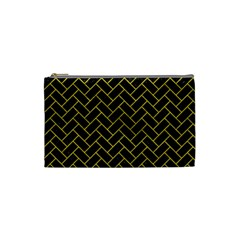 Brick2 Black Marble & Yellow Leather (r) Cosmetic Bag (small)