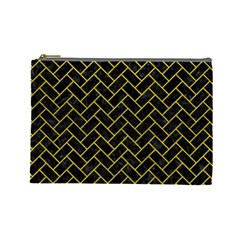 Brick2 Black Marble & Yellow Leather (r) Cosmetic Bag (large)