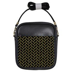 Brick2 Black Marble & Yellow Leather (r) Girls Sling Bags