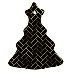Brick2 Black Marble & Yellow Leather (r) Christmas Tree Ornament (two Sides)