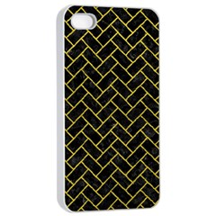 Brick2 Black Marble & Yellow Leather (r) Apple Iphone 4/4s Seamless Case (white)