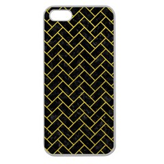 Brick2 Black Marble & Yellow Leather (r) Apple Seamless Iphone 5 Case (clear)