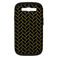 Brick2 Black Marble & Yellow Leather (r) Samsung Galaxy S Iii Hardshell Case (pc+silicone)