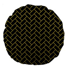 Brick2 Black Marble & Yellow Leather (r) Large 18  Premium Round Cushions