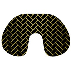 Brick2 Black Marble & Yellow Leather (r) Travel Neck Pillows