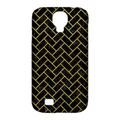 Brick2 Black Marble & Yellow Leather (r) Samsung Galaxy S4 Classic Hardshell Case (pc+silicone)