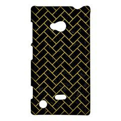 Brick2 Black Marble & Yellow Leather (r) Nokia Lumia 720