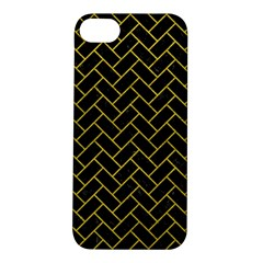 Brick2 Black Marble & Yellow Leather (r) Apple Iphone 5s/ Se Hardshell Case