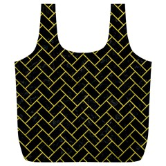Brick2 Black Marble & Yellow Leather (r) Full Print Recycle Bags (l)