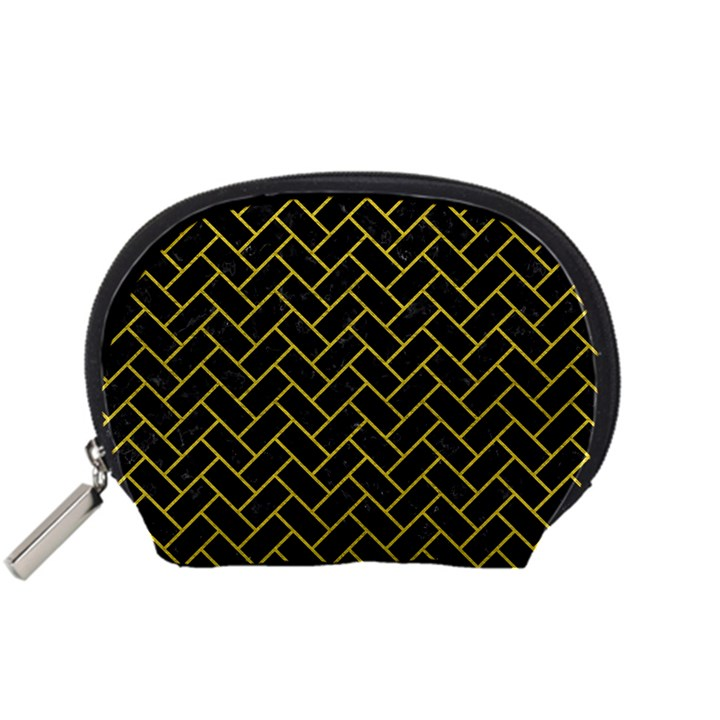BRICK2 BLACK MARBLE & YELLOW LEATHER (R) Accessory Pouches (Small)