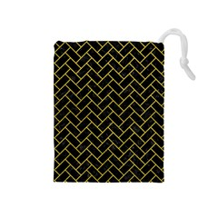 Brick2 Black Marble & Yellow Leather (r) Drawstring Pouches (medium)