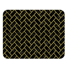 Brick2 Black Marble & Yellow Leather (r) Double Sided Flano Blanket (large)