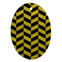Chevron1 Black Marble & Yellow Leather Ornament (oval)
