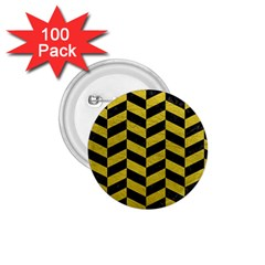 Chevron1 Black Marble & Yellow Leather 1 75  Buttons (100 Pack)
