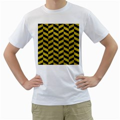 Chevron1 Black Marble & Yellow Leather Men s T Shirt (white) (two Sided)
