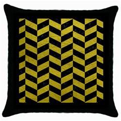 Chevron1 Black Marble & Yellow Leather Throw Pillow Case (black)