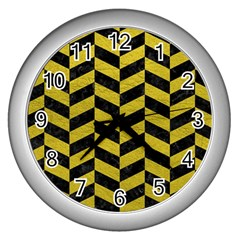 Chevron1 Black Marble & Yellow Leather Wall Clocks (silver)