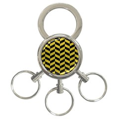 Chevron1 Black Marble & Yellow Leather 3 Ring Key Chains