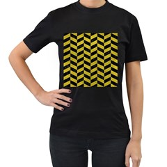 Chevron1 Black Marble & Yellow Leather Women s T Shirt (black) (two Sided)
